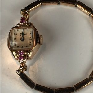 Stunning Solid 14K Ruby Encrusted Watch, Works
